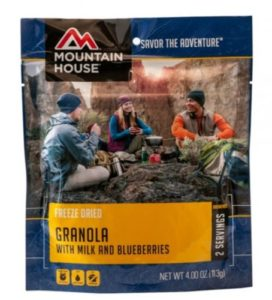 Mountain House Freeze Dried Granola with Milk and Blueberries 2 Servings