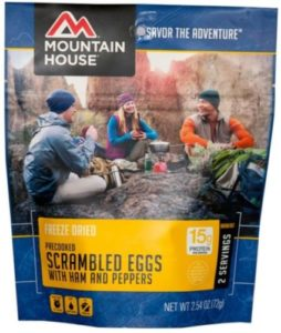 Mountain House Freeze Dried Scrambled Eggs with Ham, Red & Green Peppers 2 Servings